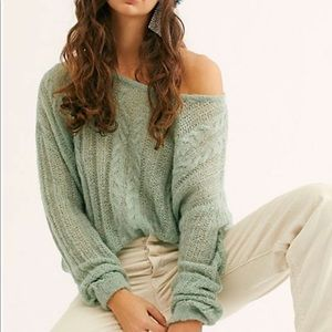 New! FREE PEOPLE Green Angel Soft Pullover